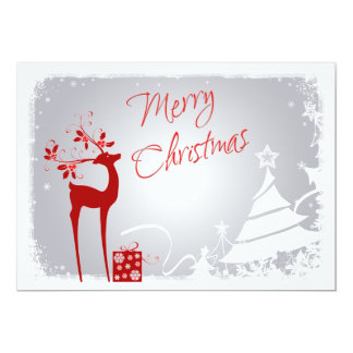 Red, Gray Merry Christmas Trees & Deer Photo Card