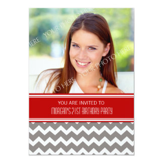 Red Gray Photo 21st Birthday Party Invitations
