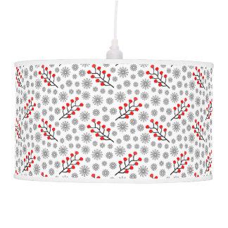 Red Gray Scandinavian Berries Pattern Pendant Lamp
