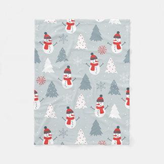 Red Gray & White Christmas Snowman Pattern Fleece Blanket
