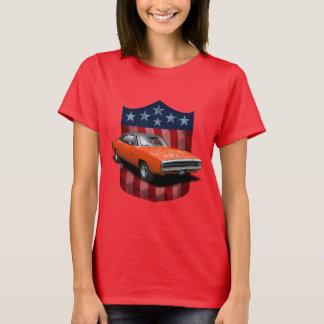 Red great American Shield dodgin charger ladies T T-Shirt