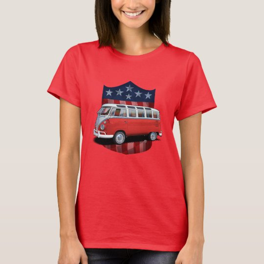 Red great American Shield Transporter Bus Ladies T T-Shirt