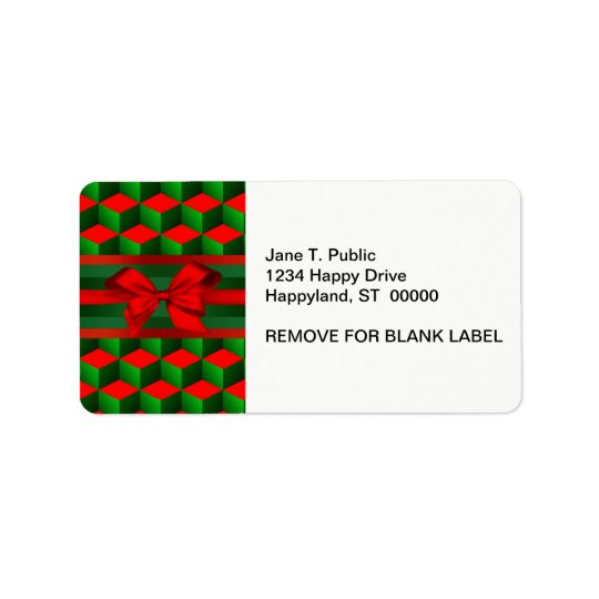 Red & Green 3D Look Cubes Ribbon Christmas