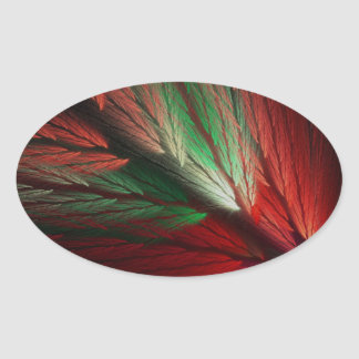 Red & Green Abstract Fractal Oval Sticker