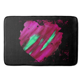 Red & Green Abstract Heart Large Bath Mat