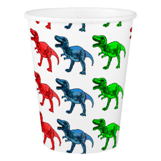 Red Green and Blue T-Rex Paper Cup
