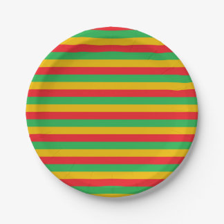 Red, Green and Gold Stripes 7 Inch Paper Plate