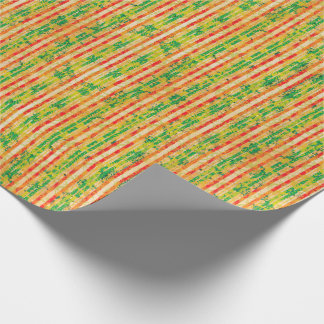 Red, Green and Gold Stripes Wrapping Paper