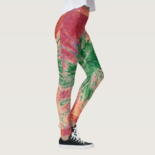 Red, Green and Orange Paint Splatter Leggings