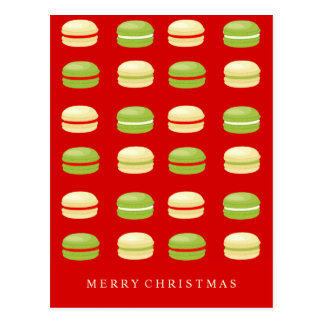 Red Green and White Christmas French Macarons Postcard