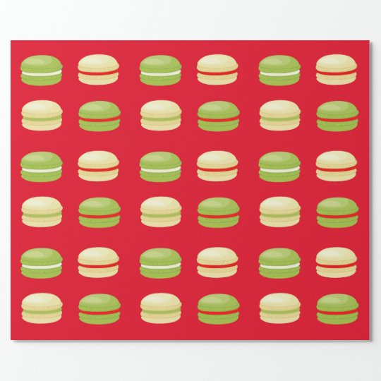 Red Green and White Christmas French Macarons Wrapping Paper