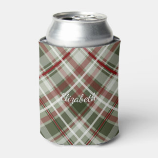 red green and white Christmas plaid Can Cooler