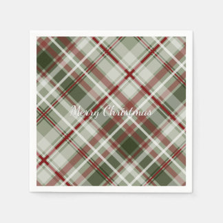 red green and white Christmas plaid Disposable Napkin