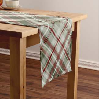 red green and white Christmas plaid Short Table Runner