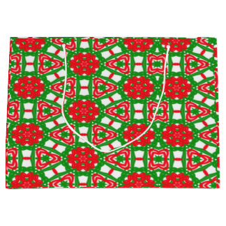 Red, Green and White Kaleidoscope 3372 Large Gift Bag