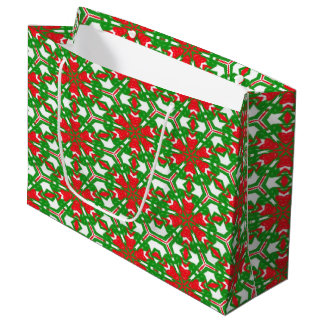 Red, Green and White Kaleidoscope 3373 Large Gift Bag
