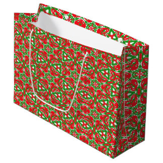 Red, Green and White Kaleidoscope 3375 Large Gift Bag