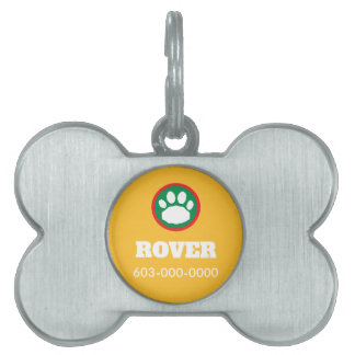 Red, Green, and Yellow Christmas Paw Print Pet ID Tag