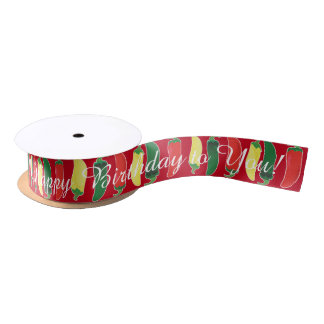 Red Green and Yellow Hot Salsa Chili Peppers Satin Ribbon