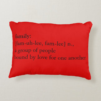 Red & Green Argyle Christmas Family Definition Decorative Pillow
