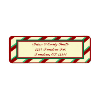 Red green beige Christmas stripes return labels
