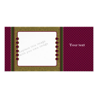 Red green beige design picture card