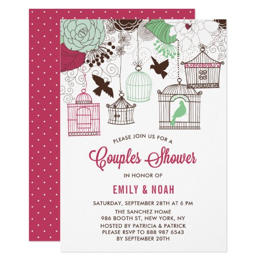 Red & Green Bird Cages Floral Couples Shower Card