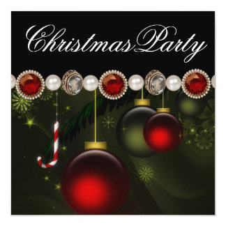 "Red Green Black Gold OrnamentsChristmas Party 5.25"" Square Invitation Card"