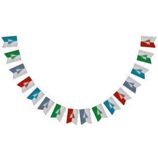 Red Green Blue Gray Christmas Trees Happy New Year Bunting Flags