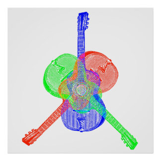 Red Green & Blue Guitars Poster