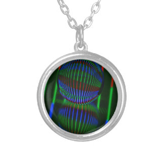 Red,Green, blue in the crystal ball Silver Plated Necklace