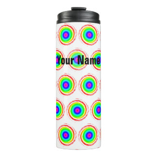 Red Green Blue Swirling Circles with Your Name Thermal Tumbler