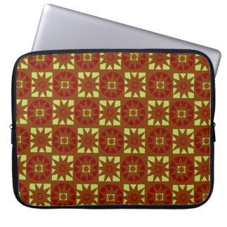 Red Green Brown Aztec Geometric Floral Print Laptop Sleeve