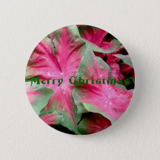 Red Green Caladium Merry Christmas Badge 2 Inch Round Button