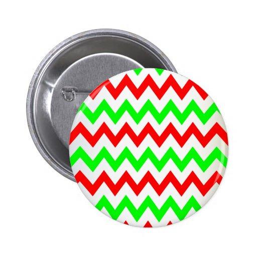 red green chevron pinback button