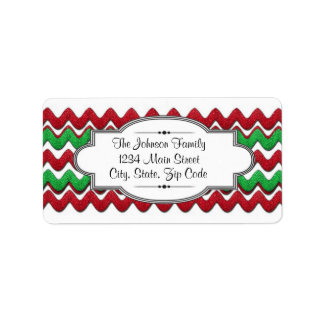 Red Green Chevron zigzag address label, Christmas