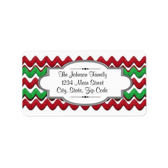 Red Green Chevron zigzag address label, Christmas Label
