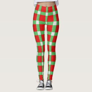 Red Green Christmas Chequered Pattern Leggings