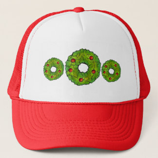 Red Green Christmas Cookie Holly Berry Wreath Xmas Trucker Hat