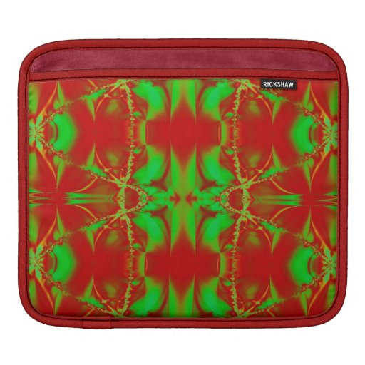 Red Green Christmas Fractal Sleeve For iPads