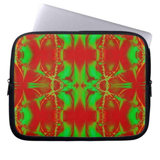 Red Green Christmas Fractal Computer Sleeve