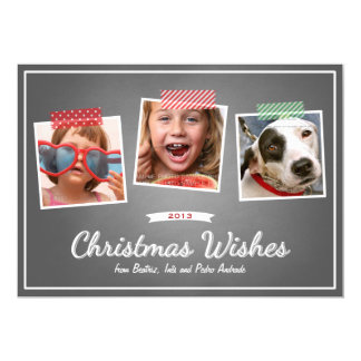 "Red Green Christmas Photo Washi Tape Chalk Holiday 5"" X 7"" Invitation Card"