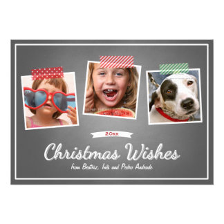 Red Green Christmas Photo Washi Tape Chalk Holiday Invitation
