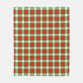 Red Green Christmas Plaid Chequered Fleece Blanket