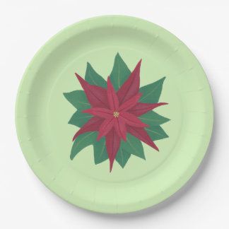 Red Green Christmas Poinsettia Paper Plates