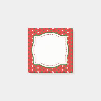 Red & Green Christmas Polka Dot Post It Notes
