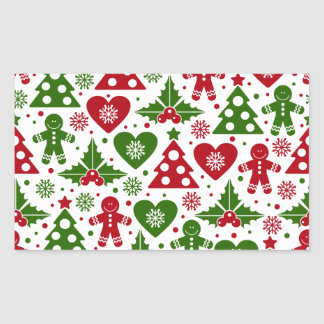 Red & Green Christmas Tree Gingerbread Man Pattern