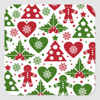 Red & Green Christmas Tree Gingerbread Man Pattern Square Sticker