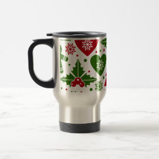 Red & Green Christmas Tree Gingerbread Man Pattern Travel Mug