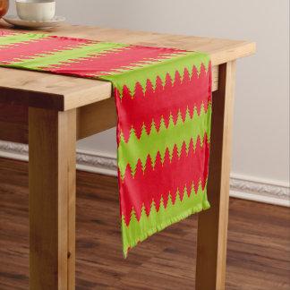 Red Green Christmas Tree Pattern Short Table Runner
